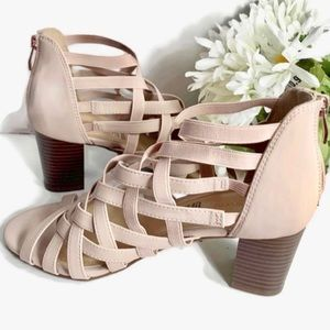 Liz Claiborne Blush Color Strappy Heels.